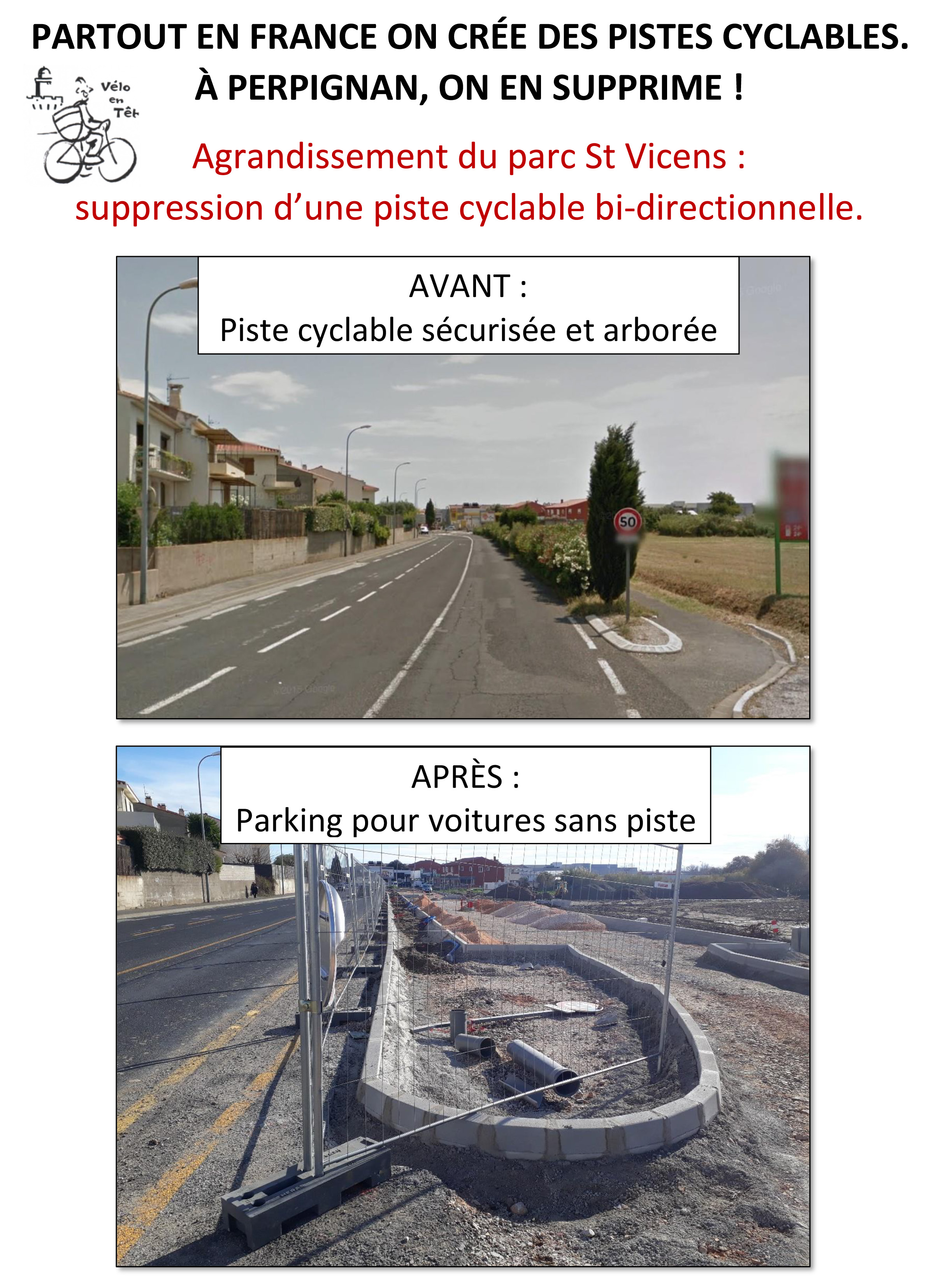 suppression d'une piste cyclable bi-directionnelle.