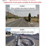 Agrandissement du parc St Vicens : suppression d'une piste cyclable bi-directionnelle.