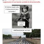 Aménagement de l'av. Albert Camus : suppression d'une bande cyclable bi-directionnelle.